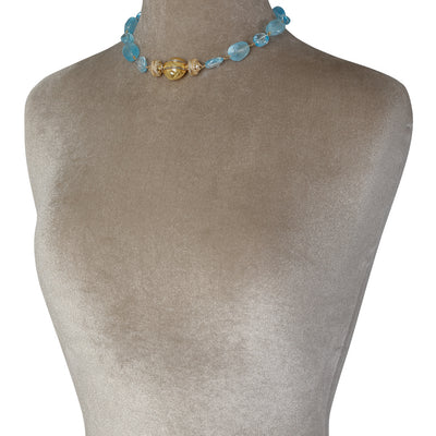 18K Blue Topaz Caspian Necklace