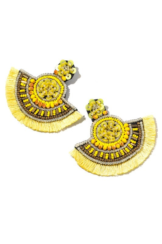 Yellow Bead Disc Fringe Earring
