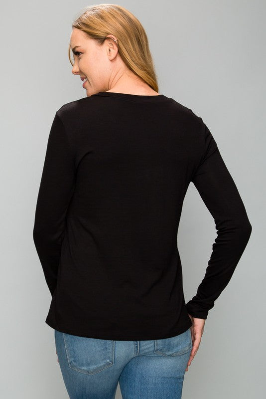 Black V-Neck Mesh Top