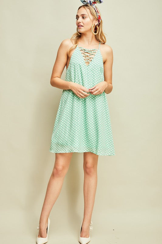 Sage Polka Dot Racerback Dress