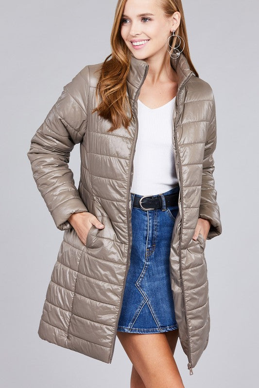 Khaki Long Quilted Down Coat