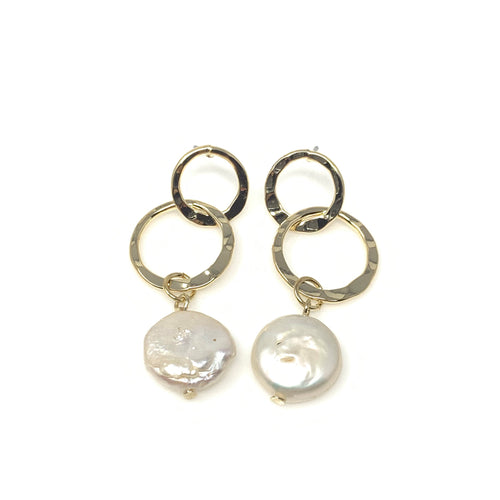 Double Hoop Faux Pearl Dangling Earrings, Earrings - www.thestoneflower.com