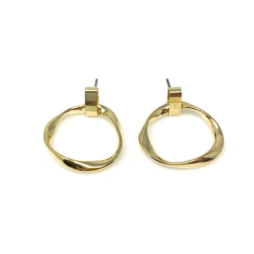 Twisted Hoop Post Earrings