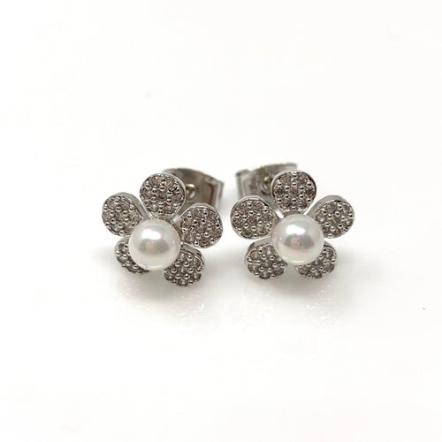 Faux Pearl on Diamond Flower Earrings, Earrings - www.thestoneflower.com