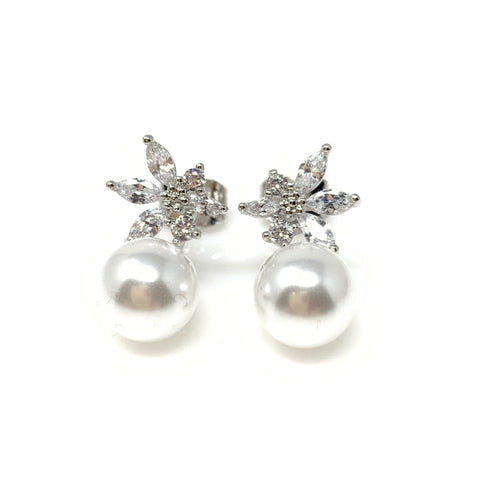 Pearl Drop With Crystal Flower Earrings, Earrings - www.thestoneflower.com