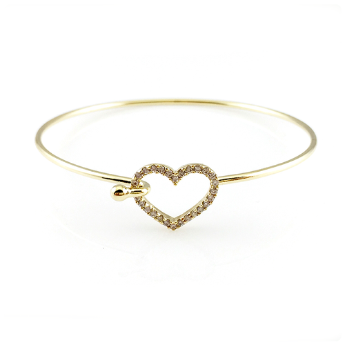 Open Heart Hook Bangle Bracelet, Bracelets - www.thestoneflower.com