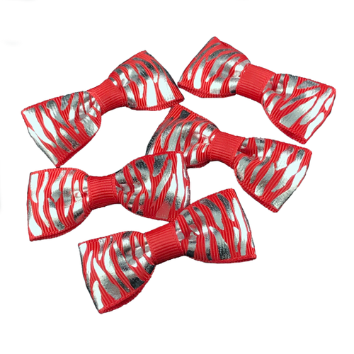 Red & Silver Mini Bow, Hair Accessories - www.thestoneflower.com