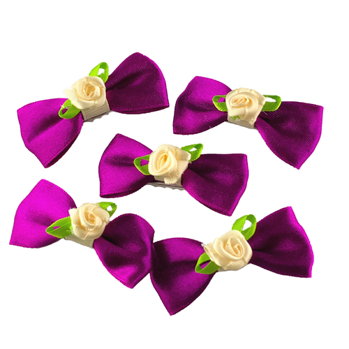 Rose Fuchsia Mini Bow, Hair Accessories - www.thestoneflower.com