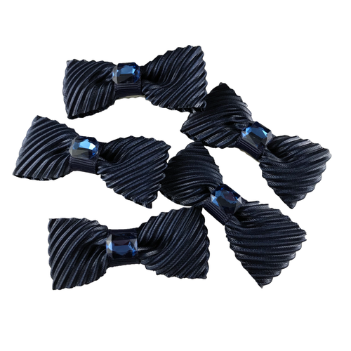 Navy Velvet Mini Bow, Hair Accessories - www.thestoneflower.com