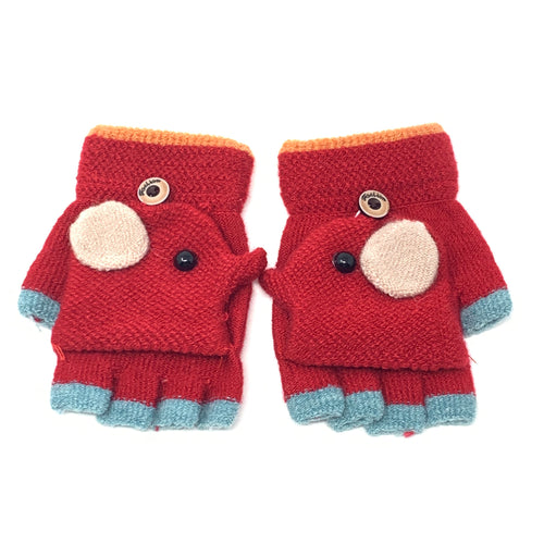 Cute Elephant Flip Top Knitted Gloves, Clothing - www.thestoneflower.com