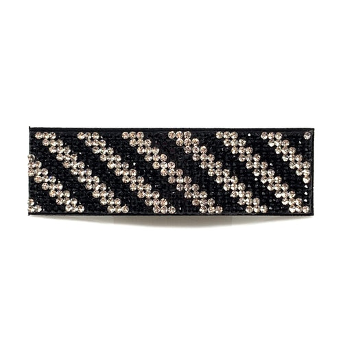 Black & White Rhinestone Snap Clip, Hair Accessories - www.thestoneflower.com