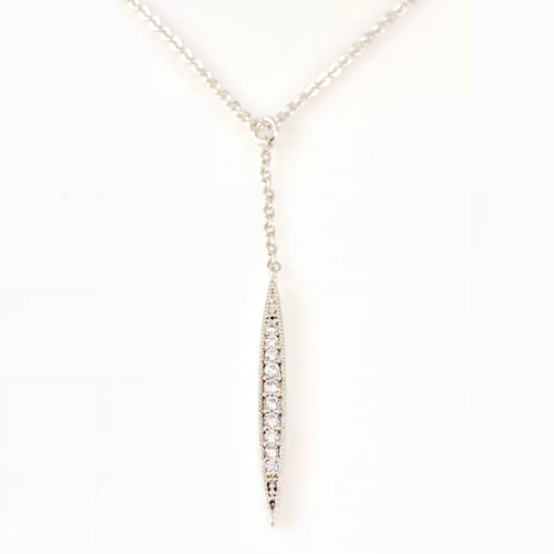 Drop Crystal Pave Pendant Necklace, Necklaces - www.thestoneflower.com