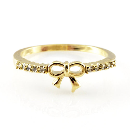 Bow Gold  Ring, Rings - www.thestoneflower.com
