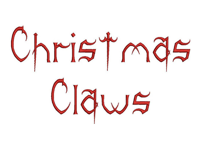 Christmas Claws embroidery font formats dst, exp, pes, jef and xxx, Sizes 1, 1.5 and 2 inches, instant download