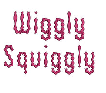 Wiggly Squiggly embroidery font bx (compatible with 17 machine file formats), dst, exp, pes, jef and xxx, Sizes 1, 1.5, 2 inches
