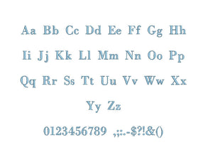 Bodoni embroidery font formats bx (which converts to 17 machine formats), + pes, Sizes 0.25 (1/4), 0.50 (1/2), 1, 1.5 and 2""