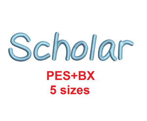 Scholar embroidery font formats bx (which converts to 17 machine formats), + pes, Sizes 0.25 (1/4), 0.50 (1/2), 1, 1.5 and 2""