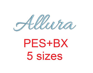 Allura Script embroidery font formats bx (which converts to 17 machine formats), + pes, Sizes 0.25 (1/4), 0.50 (1/2), 1, 1.5 and 2""