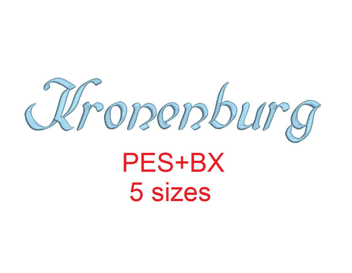 Kronenburg embroidery font formats bx (which converts to 17 machine formats), + pes, Sizes 0.50 (1/2), 0.75 (3/4), 1, 1.5 and 2