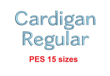 "Cardigan Regular™ block embroidery font PES 15 Sizes 0.25 (1/4), 0.5 (1/2), 1, 1.5, 2, 2.5, 3, 3.5, 4, 4.5, 5, 5.5, 6, 6.5, and 7"" (RLA)"