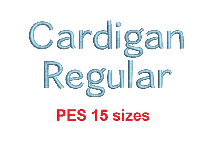 Cardigan Regular™ block embroidery font PES 15 Sizes 0.25 (1/4), 0.5 (1/2), 1, 1.5, 2, 2.5, 3, 3.5, 4, 4.5, 5, 5.5, 6, 6.5, and 7