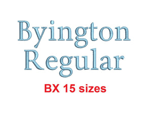 Byington Regular™ block embroidery BX font Sizes 0.25 (1/4), 0.50 (1/2), 1, 1.5, 2, 2.5, 3, 3.5, 4, 4.5, 5, 5.5, 6, 6.5, and 7 inches (RLA)