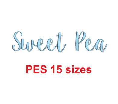 Swet Pea embroidery font PES format 15 Sizes 0.25 (1/4), 0.5 (1/2), 1, 1.5, 2, 2.5, 3, 3.5, 4, 4.5, 5, 5.5, 6, 6.5, and 7 inches