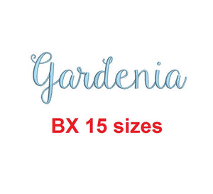 Gardenia embroidery BX font Sizes 0.25 (1/4), 0.50 (1/2), 1, 1.5, 2, 2.5, 3, 3.5, 4, 4.5, 5, 5.5, 6, 6.5, and 7 inches