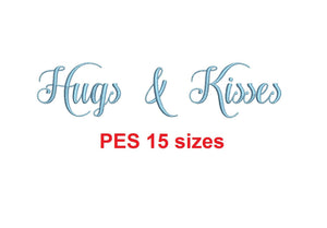 "Hugs and Kisses embroidery font PES format 15 Sizes 0.25 (1/4), 0.5 (1/2), 1, 1.5, 2, 2.5, 3, 3.5, 4, 4.5, 5, 5.5, 6, 6.5, 7"" (MHA)"