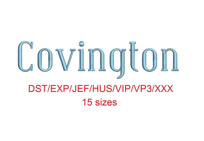 Covington embroidery font dst/exp/jef/hus/vip/vp3/xxx 15 sizes small to large