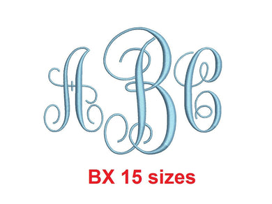 Vine Monogram embroidery BX font Satin Stitches 15 Sizes 0.25 (1/4) up to 7 inches