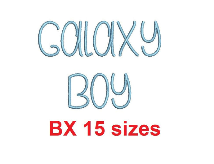 Galaxy Boy embroidery BX font Sizes 0.25 (1/4), 0.50 (1/2), 1, 1.5, 2, 2.5, 3, 3.5, 4, 4.5, 5, 5.5, 6, 6.5, and 7