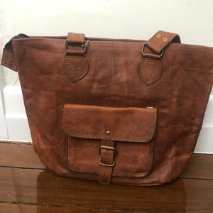 Leather Bag with front pocket