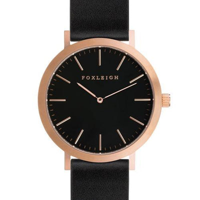 Rose Gold & Black Leather Timepiece