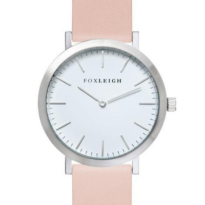 Silver & Peach Leather Timepiece