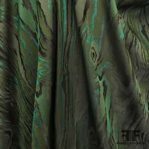 Swirl Metallic Brocade - Green/Black - Fabrics & Fabrics