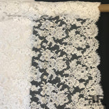 French Alencon Lace with Rosette Pattern - White