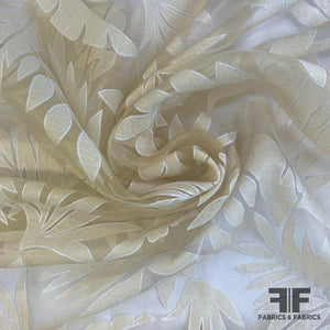 Metallic Floral Burnout Organza - Gold/White