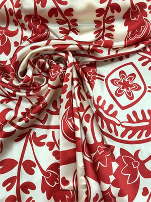 Floral Silk Charmeuse - Red / Beige