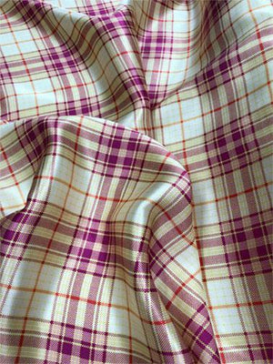 Plaid Silk Charmeuse − Soft Yellow