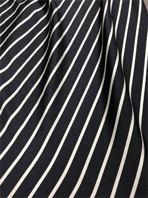 Striped Heavy Weight Silk Charmeuse − Black