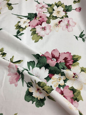 Floral Cotton - White, Green, Pink