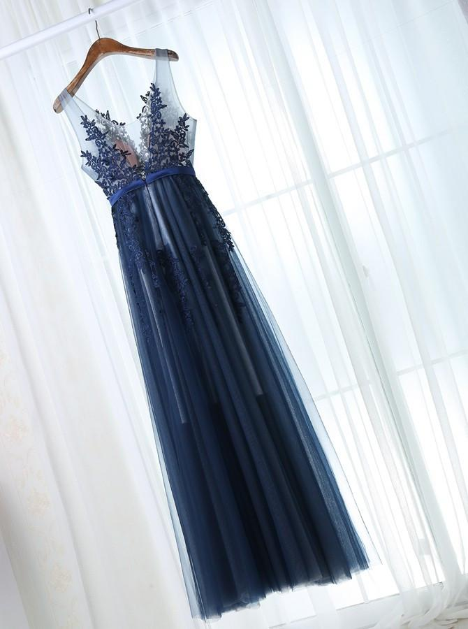 2018 A-line Prom Dress Lace Cheap Long Prom Dresses SKY141
