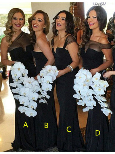 Sheath/Column Off-the-shoulder Floor-length Short Chiffon Bridesmaid Dresses # VB098