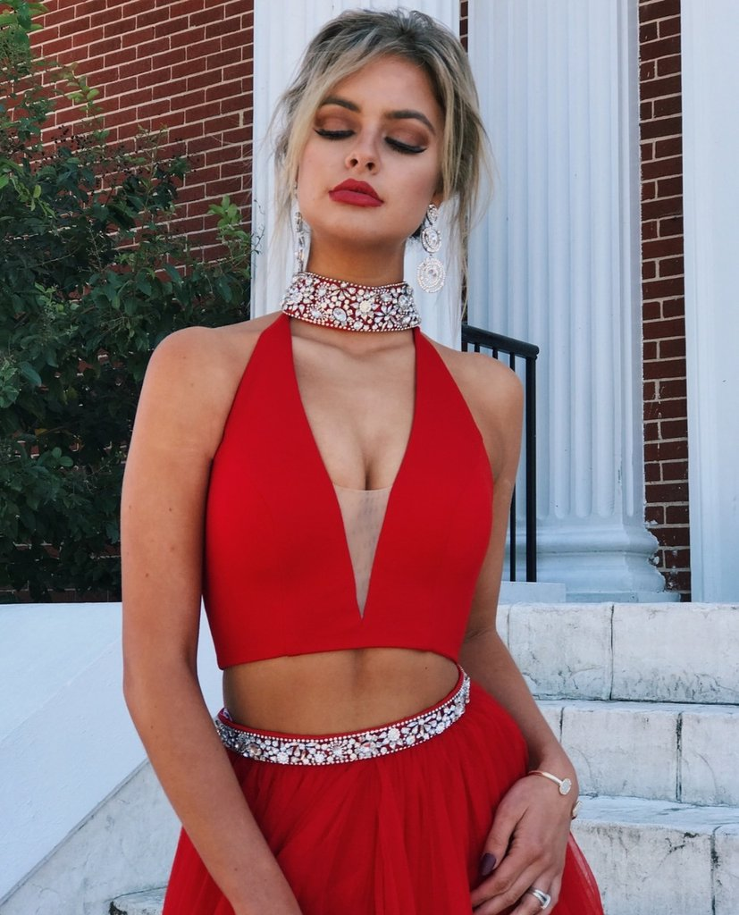 2018 Two Piece Prom Dress Simple Modest Beautiful Red Cheap Long Prom Dress # VB1414