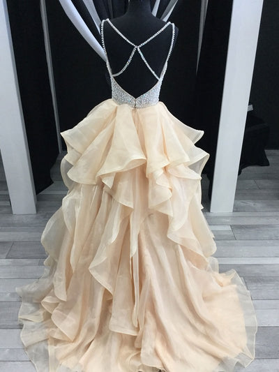 Champagne A Line  Prom Dress Simple Modest Elegant Cheap Long Prom Dress #VB1554