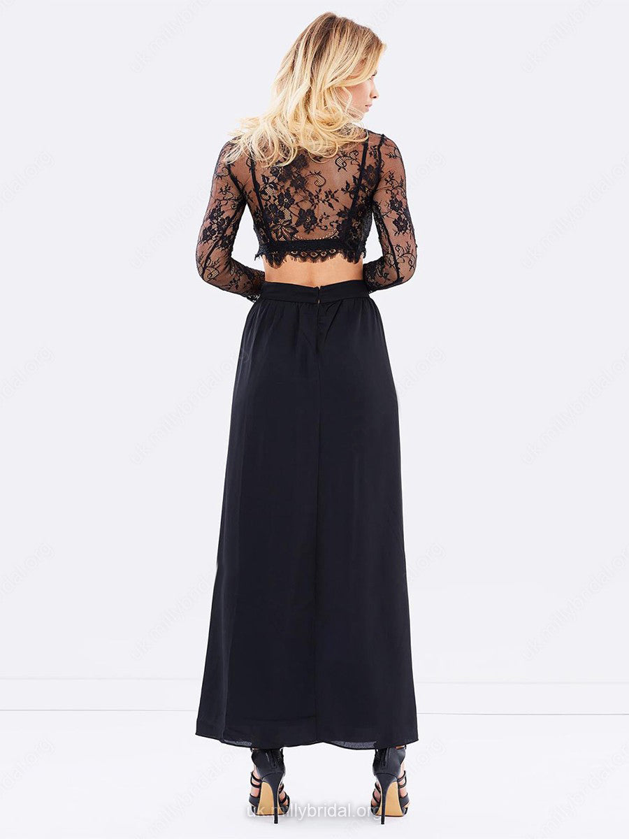 2018 A Line Two Piece Prom Dress Modest Beautiful Lace Black Cheap Long Prom Dress #VB1640