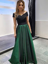 A Line Hunter Prom Dress Modest Off The Shoulder Cheap Long Simple Prom Dress #VB1734