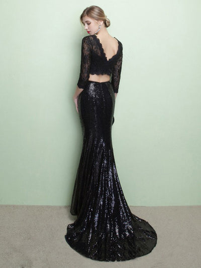 Two Piece Mermaid Prom Dress Modest Black Lace Cheap Long Prom Dress #VB1737