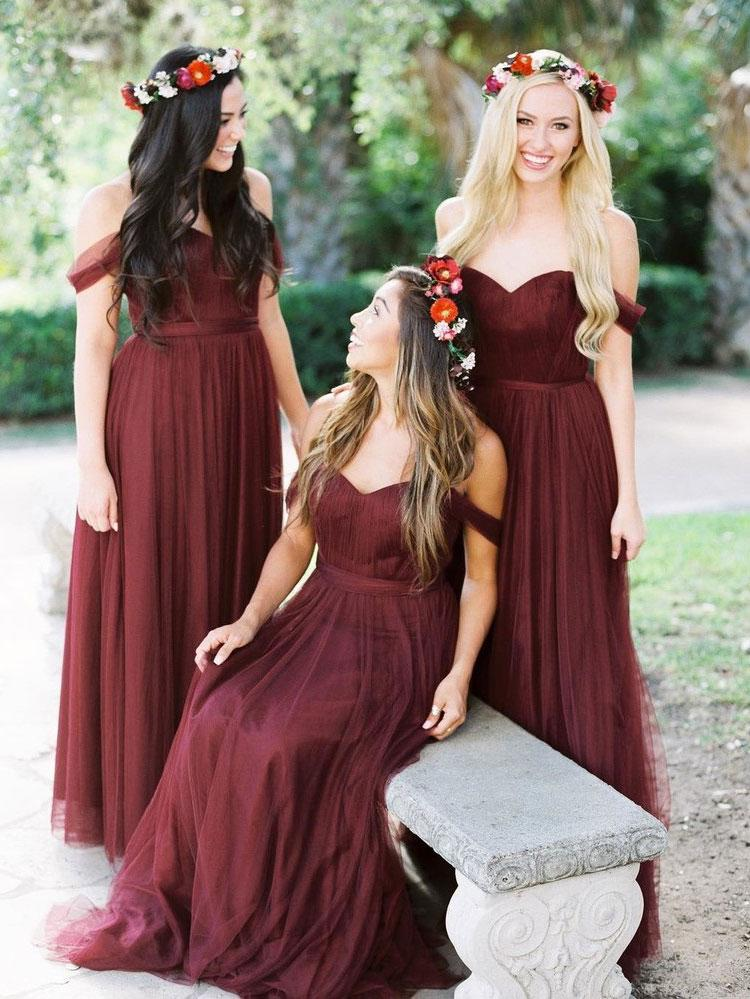 2018 Burgundy Bridesmaid Dresses Cheap Long Bridesmaid Dresses # VB1912